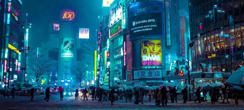 Прогулка по киберпанковому Токио в снегу
