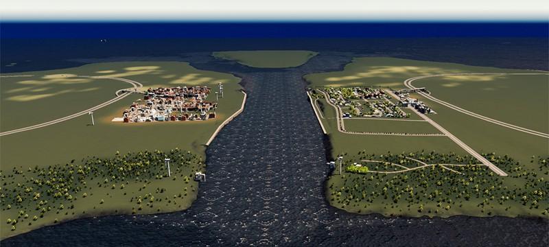 Отец и сын строят общий город в Cities: Skylines