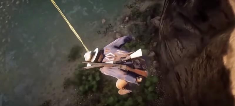 """Игроки Red Dead Redemption 2 спасаются от падений с высоты при помощи """"рвотной веревки"""""""