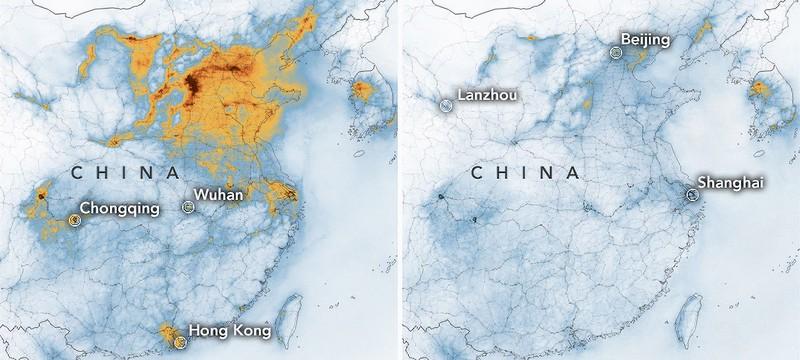 Новые карты NASA демонстрируют драматическое падение уровня загрязнений в Китае из-за коронавируса