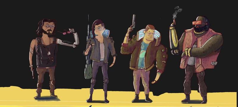 Художник изобразил персонажей Cyberpunk 2077 в мультяшном стиле