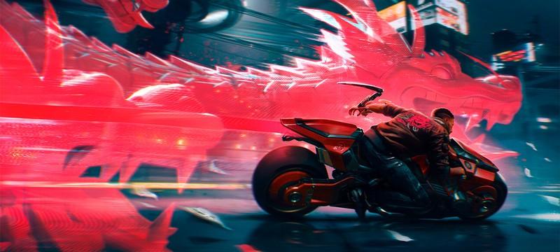 Новый крутой арт Cyberpunk 2077 с голографическим драконом
