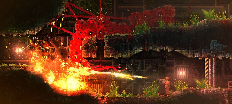 Становление монстра в стартовом геймплее пиксельного экшена Carrion