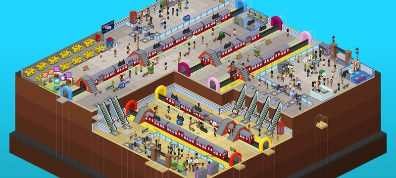 Управление пиксельной станцией метро в релизном трейлере милого тайкуна Overcrowd