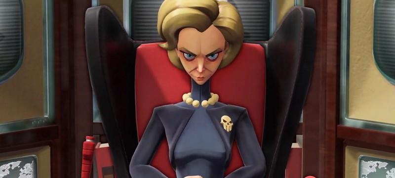 Кресло-паук и ухмылка злодейки Эммы в трейлере  Evil Genius 2