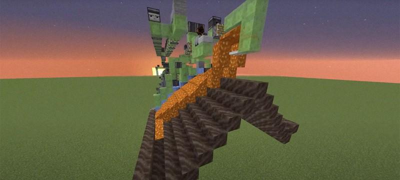 Игрок Minecraft построил гигантскую машину по строительству тоннелей из льда и лавы