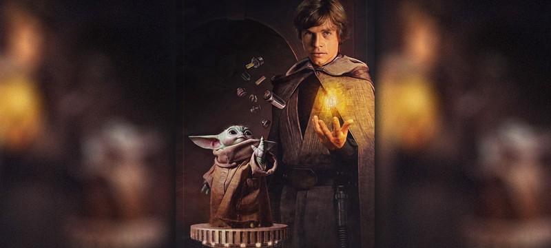 """Грогу и Люк Скайуокер собирают световой меч на официальном постере """"Мандалорца"""""""
