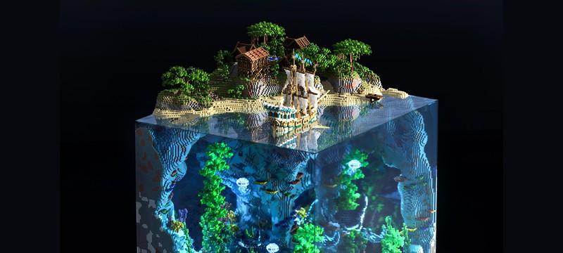 Игрок Minecraft создал потрясающую диораму мира в виде куба