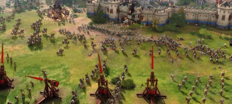 Англичане и немцы против ИИ в геймплее мультиплеерного матча Age of Empires IV
