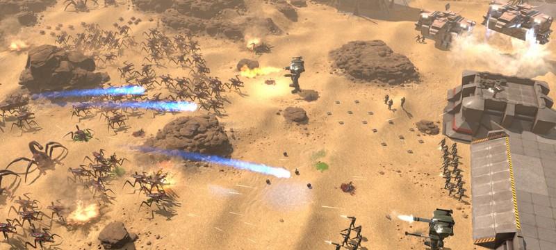 Первая встреча с жуками в геймплее сурвайвал стратегии Starship Troopers