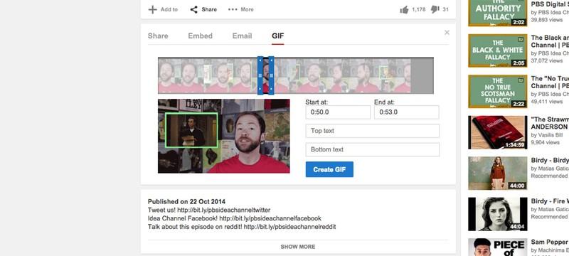YouTube позволяет делать gif-анимации из видео