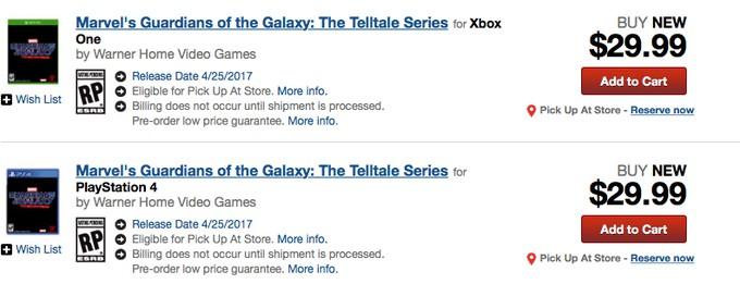 GameStop раскрыл сюжет и возможную дату выхода Guardians of the Galaxy от Telltale