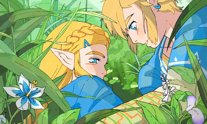 """Художник изобразила сцены из """"Принцессы Мононоке"""" с героями The Legend of Zelda"""