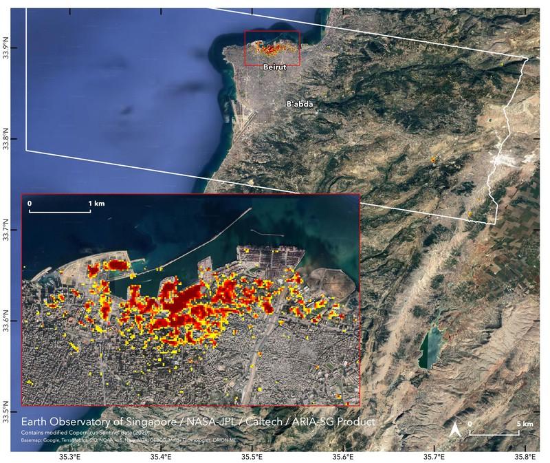 NASA показала карту разрушений, вызванных взрывом в порту Бейрута