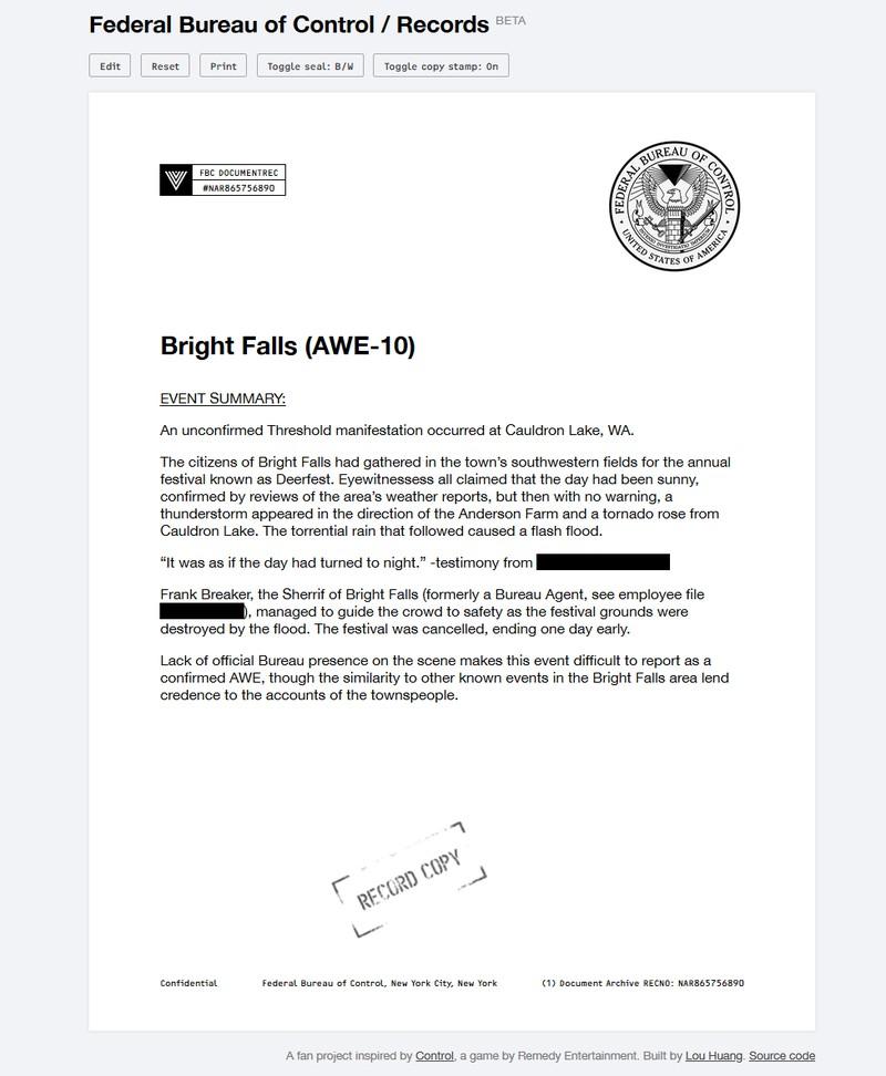 Дизайнер из США создал сервис по генерации документов в стиле Control