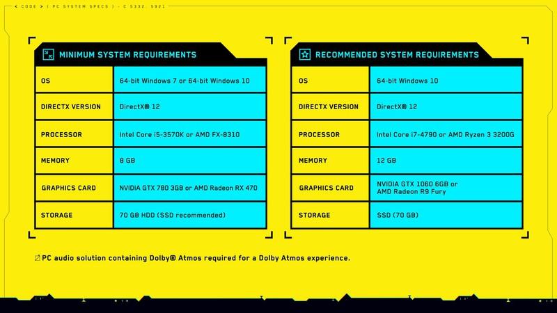 Системные требования Cyberpunk 2077 — 70 ГБ для установки, рекомендуется SSD