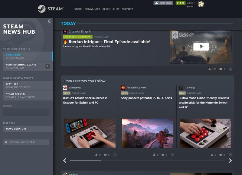 Valve начала тестировать обновленный новостной центр в Steam