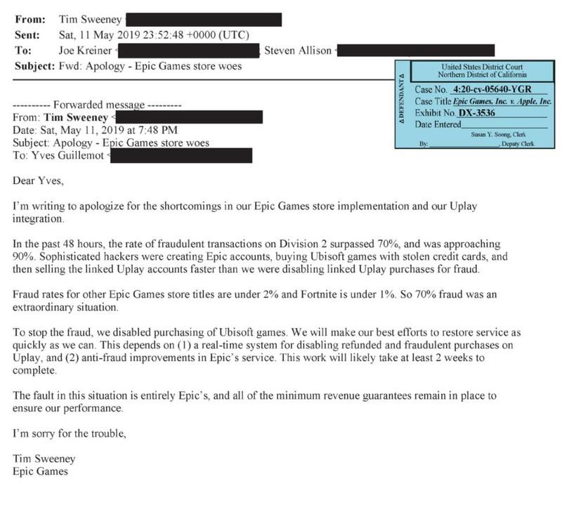 Тим Суини извинялся перед главой Ubisoft Ивом Гиймо за мошеннические операции с The Division 2 в EGS