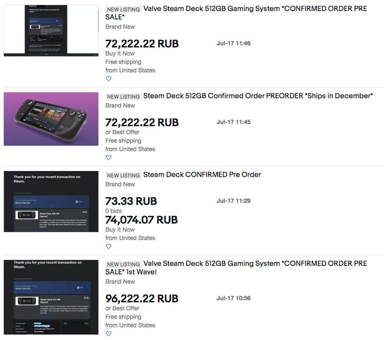 Спекулянты уже продают предзаказы на Steam Deck по ценам более 1000 долларов — и кто-то покупает