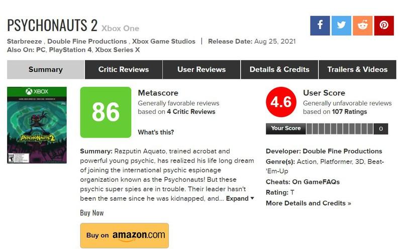 Российские игроки в ярости занижают рейтинг Psychonauts 2 на Metacritic из-за отсутствия локализации
